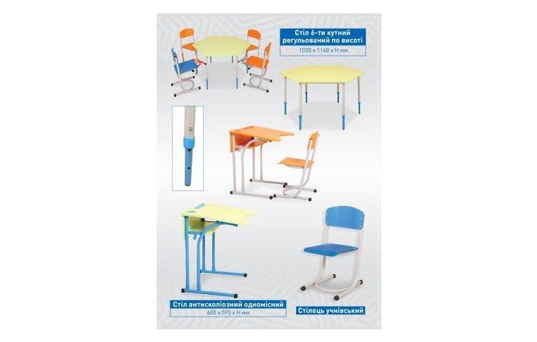 Школьные парты: купить Стол-парта ученический регулируемый по высоте (оранж, 3-6 рост, ширина 605) - 4