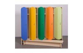 Мебель для детского сада: купить Шкаф для детской одежды (пятиместный с лавкой) -