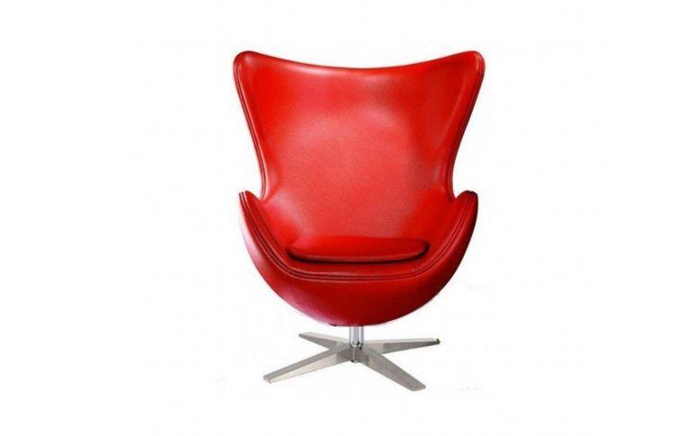 Кресла: купить Кресло Эгг (Egg) кожа красный - 1