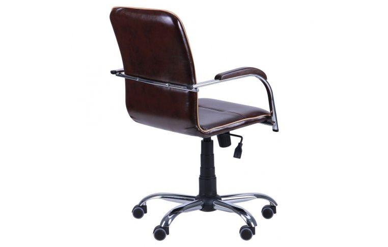 Офисные кресла: купить Кресло Самба-RC Хром орех Мадрас дарк браун с кантом Мадрас голд беж AMF - 4