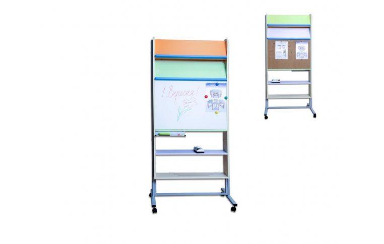 Школьная мебель: купить Тематическая зона (стеллаж двусторонний), пробка и фломастер - 1
