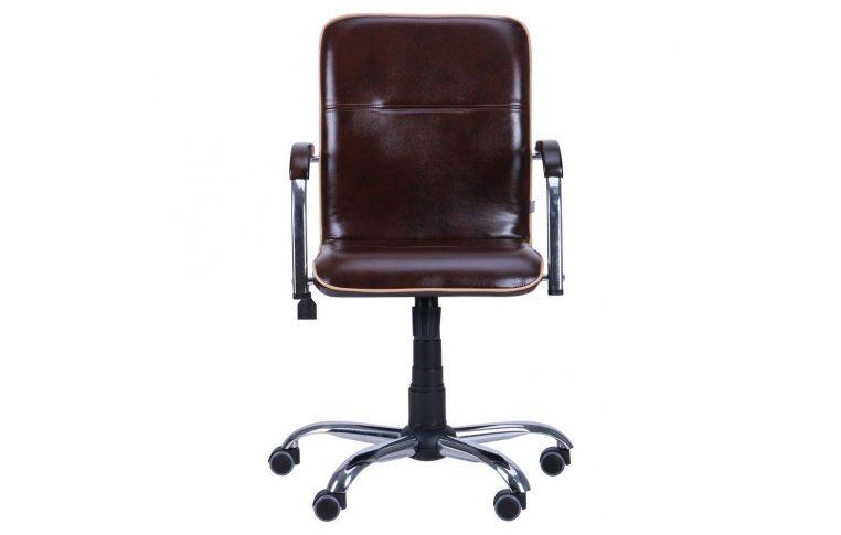 Офисные кресла: купить Кресло Самба-RC Хром орех Мадрас дарк браун с кантом Мадрас голд беж AMF - 3