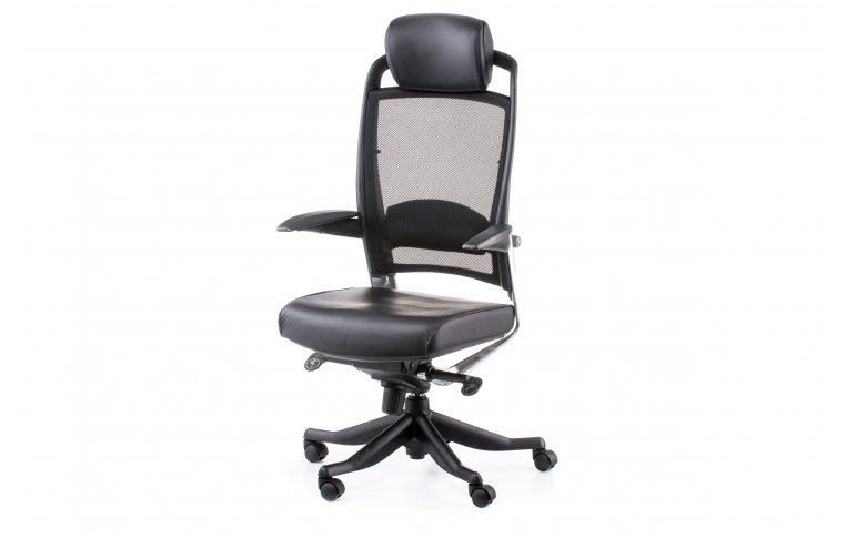 Офисные кресла: купить Кресло FULKRUM BLACK LEATHER, BLACK MESH - 1