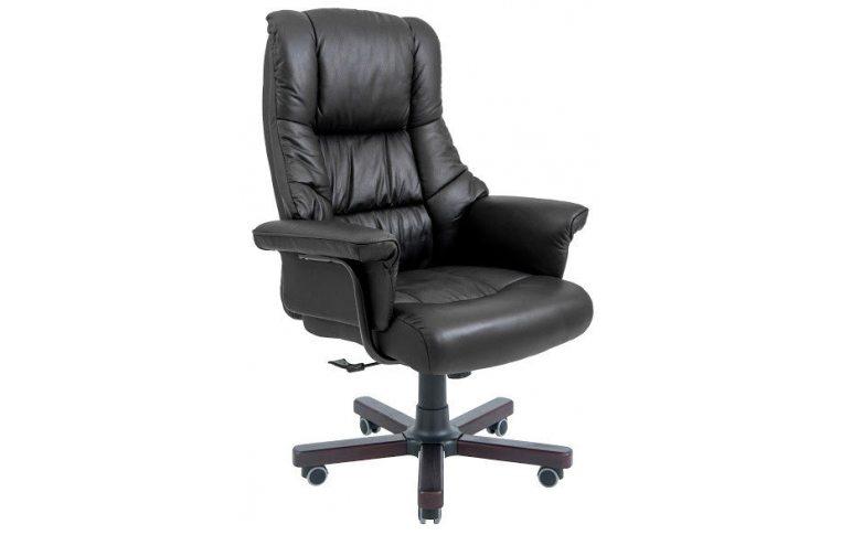 Кресла для руководителя: купить Кресло Конгресс Вуд кожа Черная Richman - 1