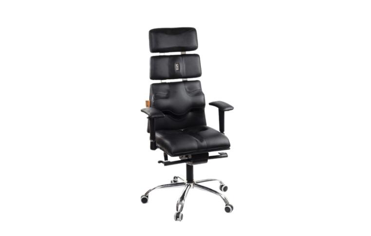 Кресла для руководителя: купить Кресло Pyramid экокожа синий, подголовник - 1