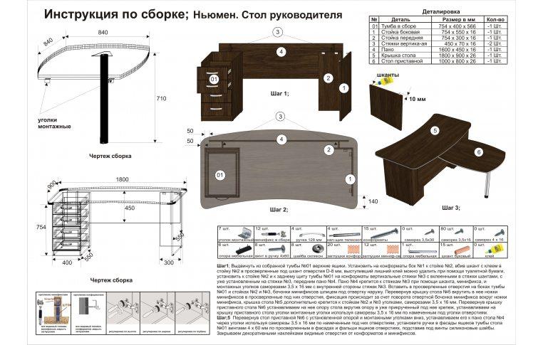 Инструкция по сборке стола руководителя Ньюмен
