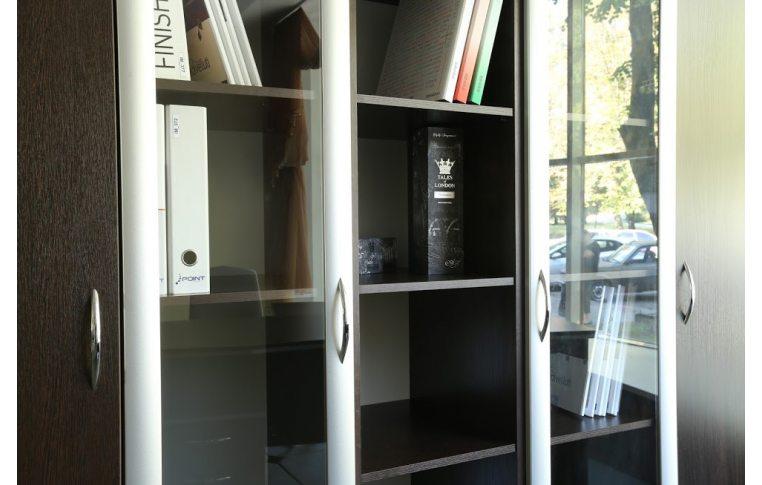 """Шкафы для руководителя: купить Кабинет """"Лоран"""" Л-401 стеллаж со стеклом - 3"""