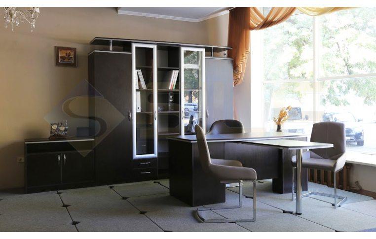"""Шкафы для руководителя: купить Кабинет """"Лоран"""" Л-401 стеллаж со стеклом - 2"""
