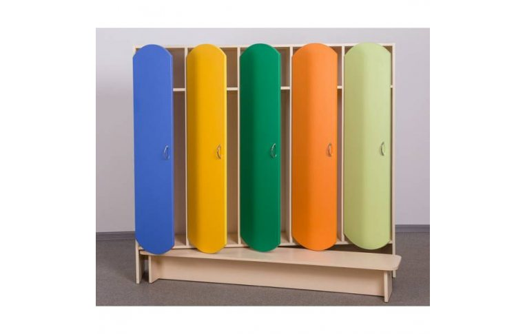 Мебель для детского сада: купить Шкаф для детской одежды (пятиместный с лавкой) - 1