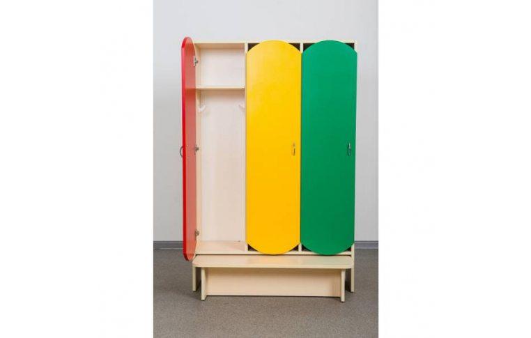 Мебель для детского сада: купить Шкаф для детской одежды (трехместный с лавкой) - 1