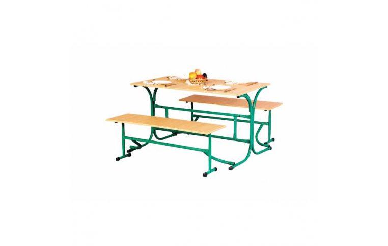 Школьная мебель: купить Стол обеденный с откидными лавками (столешница-пластик) - 1