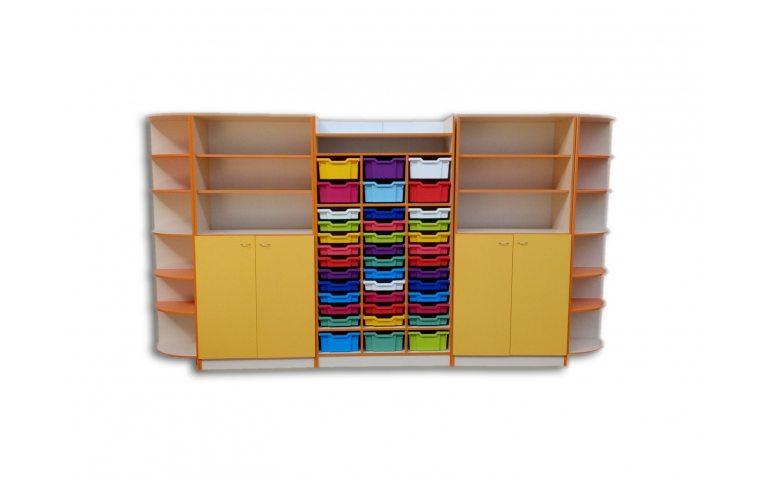 Школьные шкафы: купить Шкаф для хранения дидактического материала с лотками - 1
