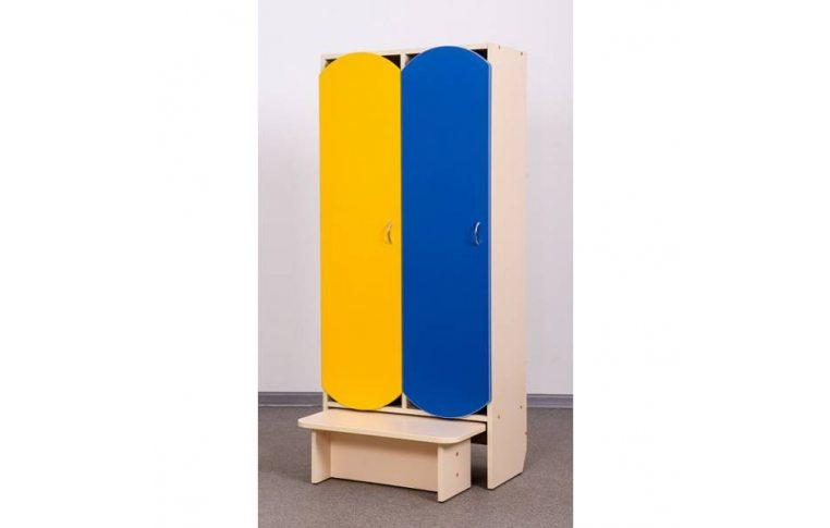 Мебель для детского сада: купить Шкаф для детской одежды (двухместный с лавкой) - 1