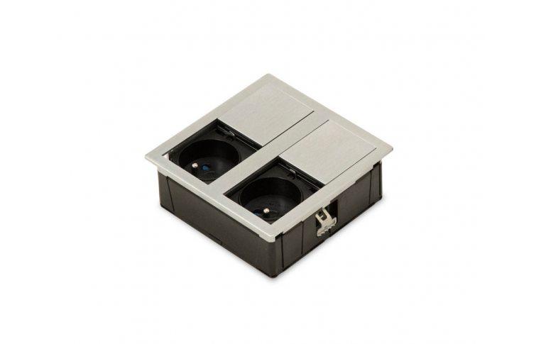 : купить Блок розеток Versahit Asa 2 с наполнением и со скользящей крышкой (никель) - 1