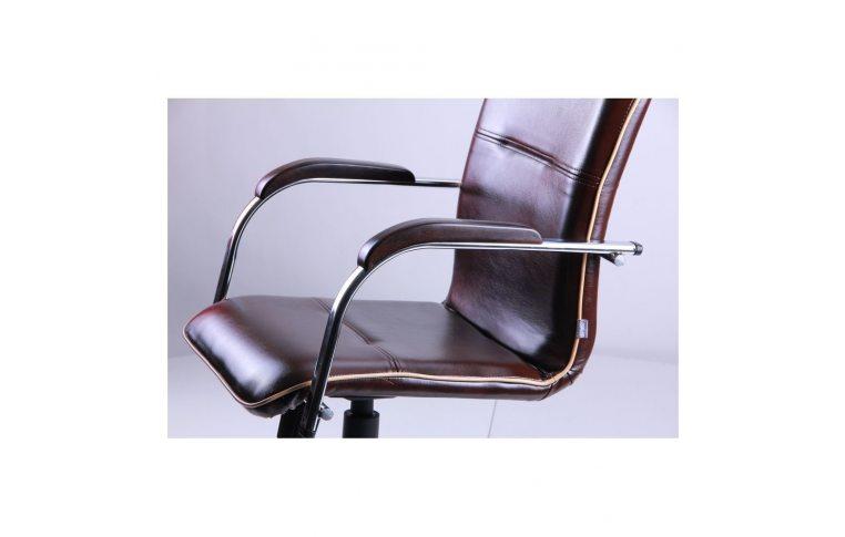 Офисные кресла: купить Кресло Самба-RC Хром орех Мадрас дарк браун с кантом Мадрас голд беж AMF - 5