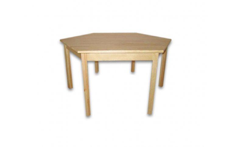 Школьная мебель: купить Стол детский шестиугольный из натурального дерева - 1