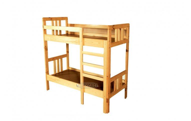 Школьная мебель: купить Кровать детская 2-х ярусная из натурального дерева - 1
