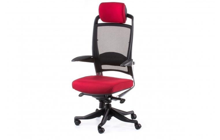 Офисные кресла: купить Кресло FULKRUM DEEPRED FABRIC, BLACK MESH - 1