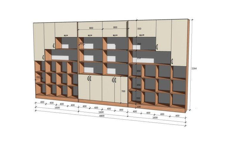 Школьные шкафы: купить Стенка школьная универсальная НШ-В - 1