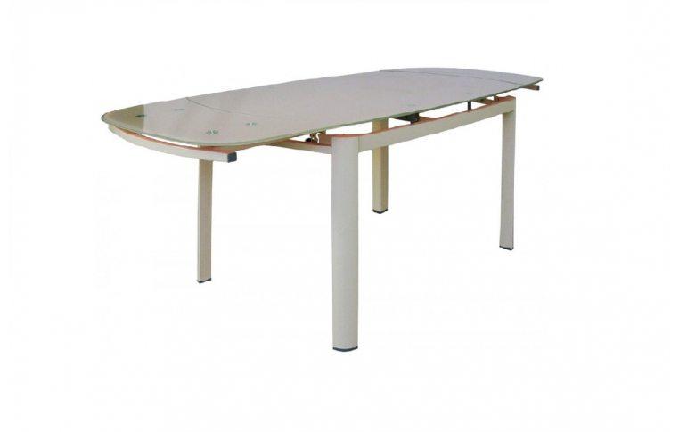 Кухонные столы: купить Раскладной стеклянный стол Коралл бежевый - 4