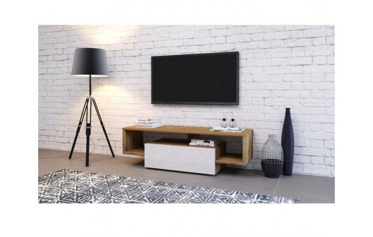 Тумбы под телевизор: купить Тумба под TV Hubertus 140 дуб вотан/белый глянец Accord - 1