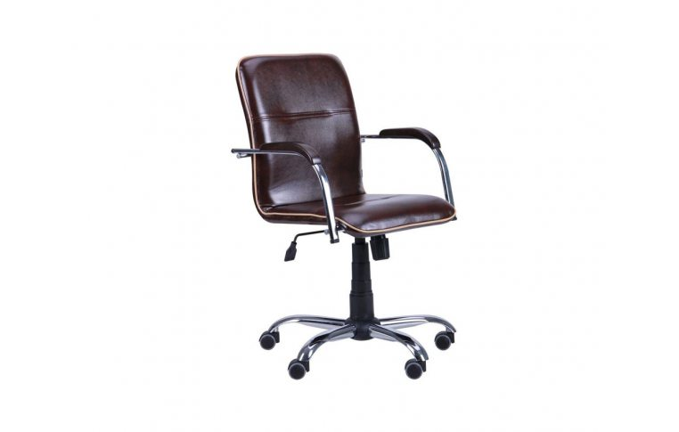 Офисные кресла: купить Кресло Самба-RC Хром орех Мадрас дарк браун с кантом Мадрас голд беж AMF - 1