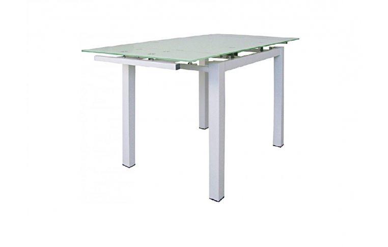 Стеклянные столы: купить Раскладной стеклянный стол Скай белый - 1